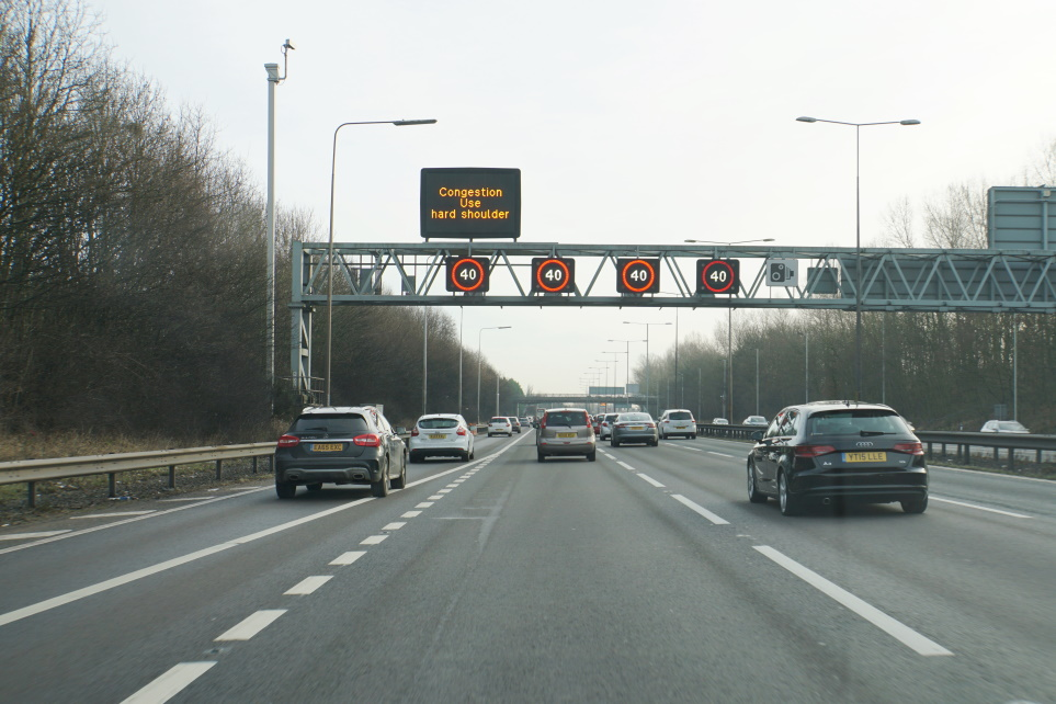 Smart motorway in operation, M54 lanes merged into the M6, hard shoulder