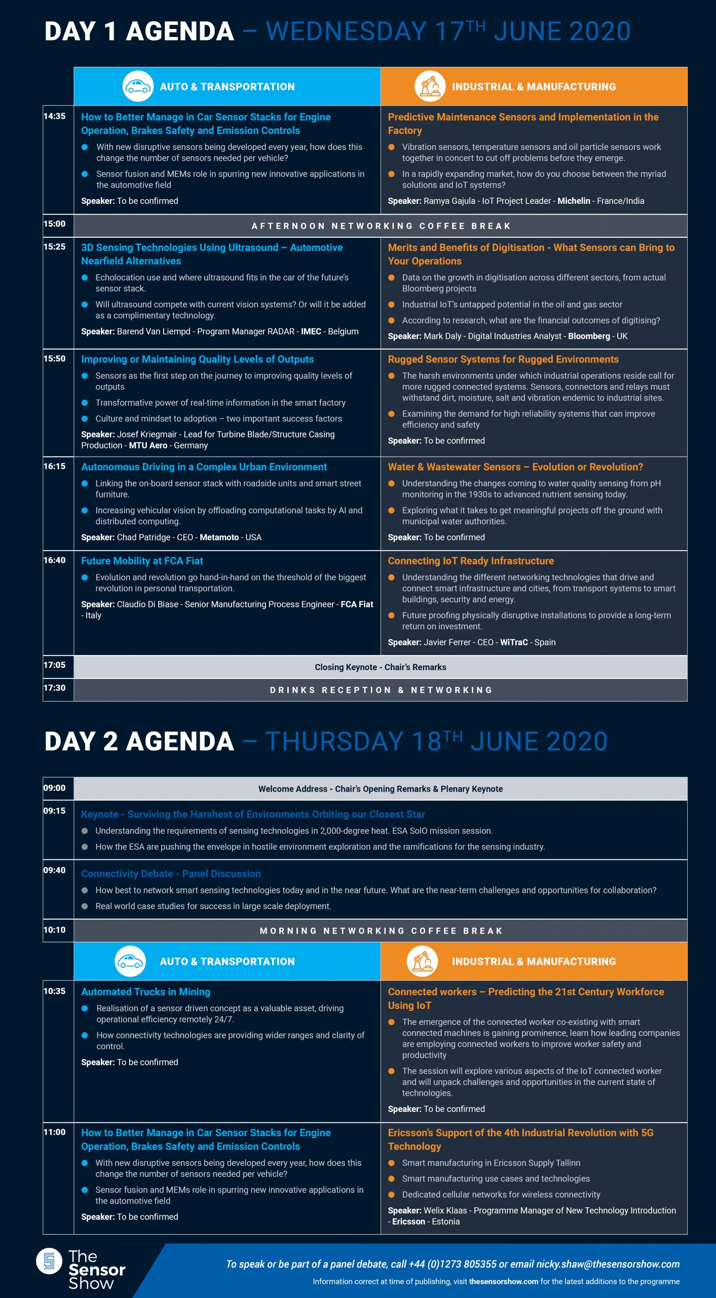 The Sensor Show Congress Munich - Agenda - 17.01.2020 - 2