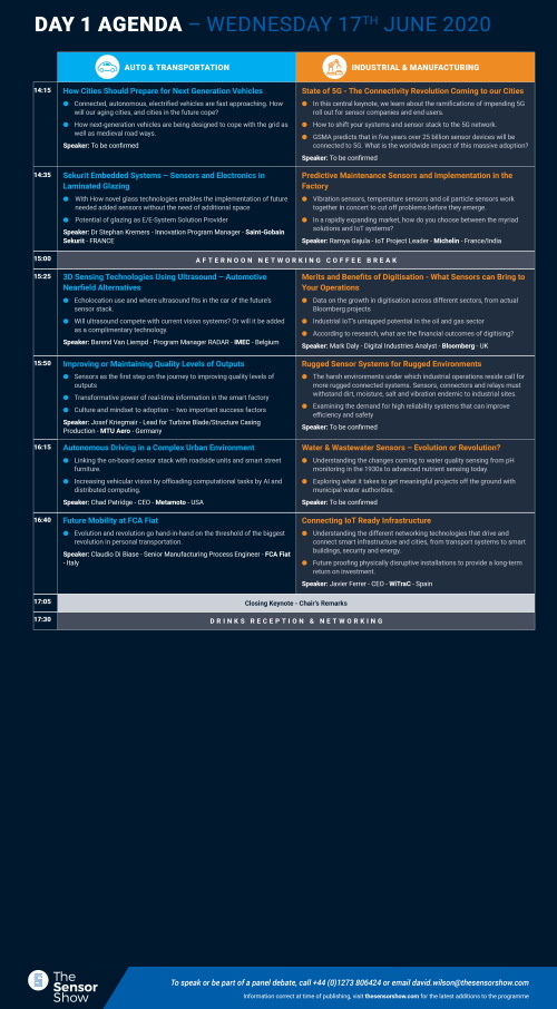 The Sensor Show Congress Munich - Agenda - Day 1 Page 2