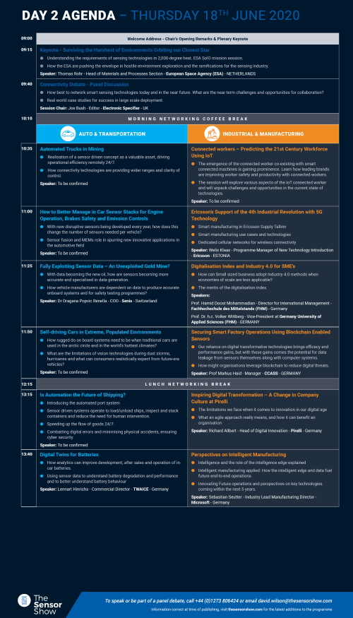 The Sensor Show Congress Munich - Agenda - Day 2 Page 1