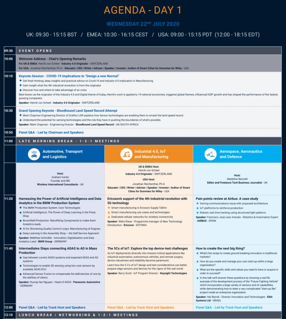 Agenda - The Virtual Sensor Show and Congress - 15.06.2020 - Day 1 1st half